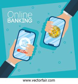 banking online technology with smartphones