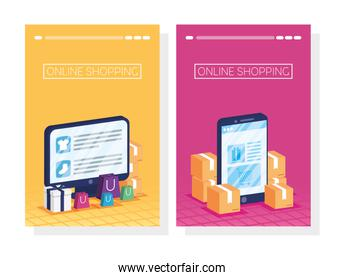 shopping online tech in smartphone and desktop
