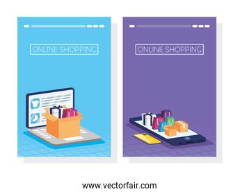 shopping online tech in smartphone and laptop