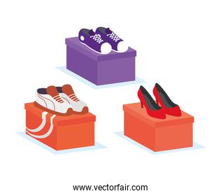 set shoes fashion footwear in boxes