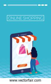 woman using shopping online tech in smartphone