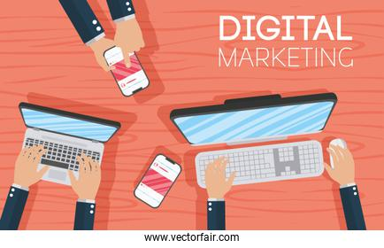digital marketing poster with laptop and smartphone