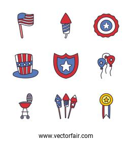 Independence day fill style icon set vector design