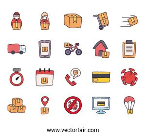 Safe delivery flat style icon set vector design