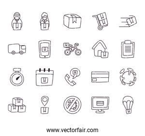 Safe delivery line style icon set vector design