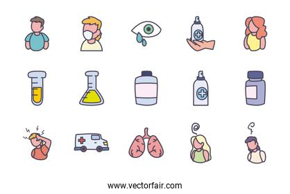 Medical fill style icon set vector design