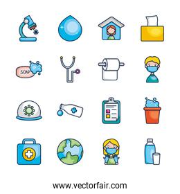 medical stethoscope and virus icon set, line color style