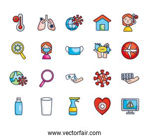 spray bottle and virus icon set, line color style