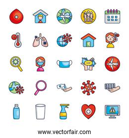 water glass and virus icon set, line color style