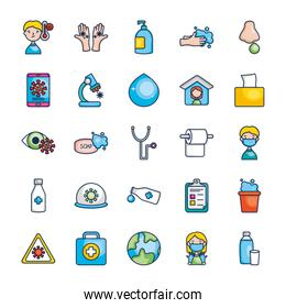 toilet paper, virus and medicine icon set, line color style