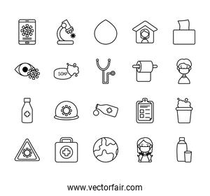 water drop, virus and medicine icon set, line style