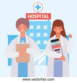 Female and male doctor in front of hospital vector design