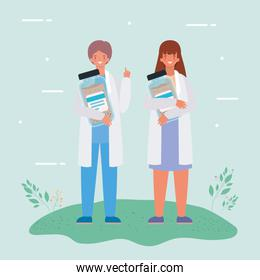 Female and male doctors with medicine jars vector design