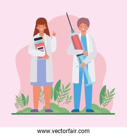 Female and male doctors with injection and medicine jar vector design