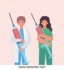 Female and male doctors with injections vector design