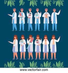 Female and male doctors with injections and medicine jars vector design