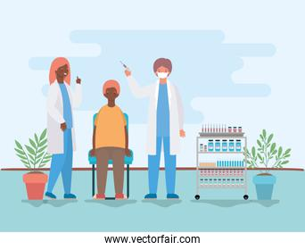 female and male doctor vaccinating man vector design