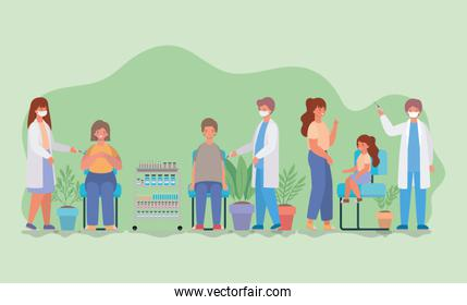female and male doctors vaccinating woman man and girl vector design