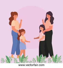 Mothers with daughters and leaves vector design