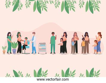 female and male doctors vaccinating kids and mothers vector design