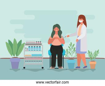 female doctor vaccinating woman vector design