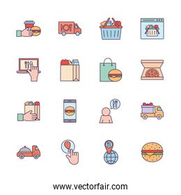 Food delivery line and fill style icon set vector design