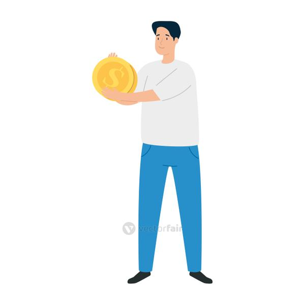 earning, saving and investing money, , young man with coin on white background