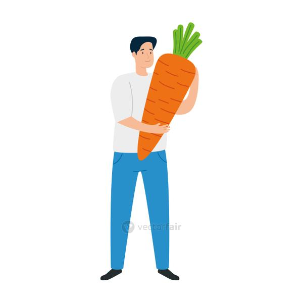 young man with carrot on white background