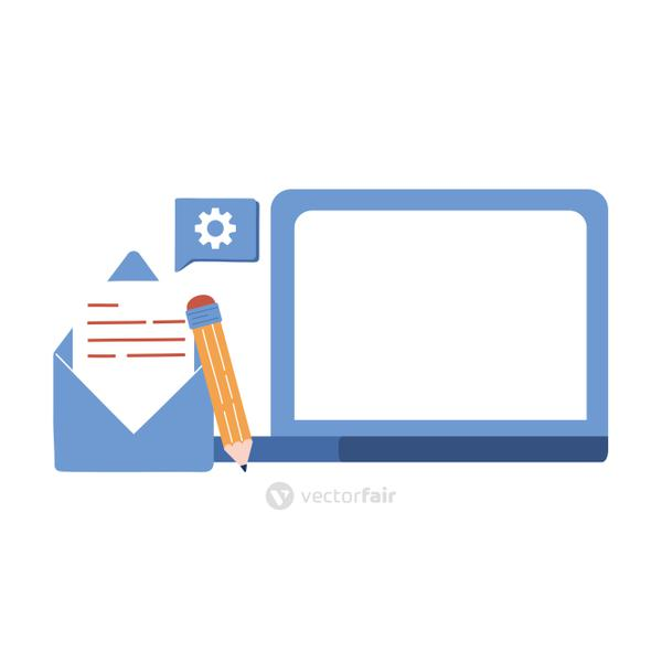 laptop envelope and pencil vector design