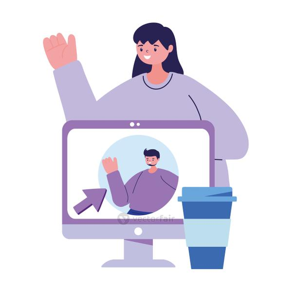 Woman with computer chatting vector design