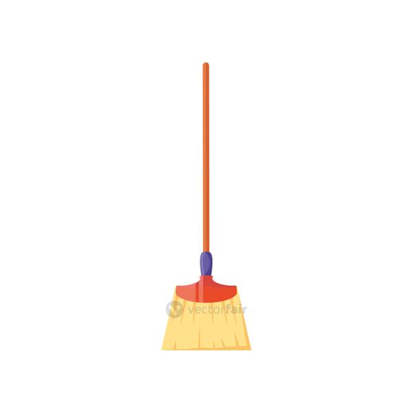 broom of long handle on white background