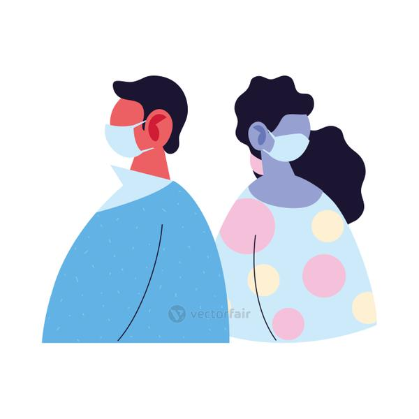 man and woman avatar cartoon with mask and pullover vector design