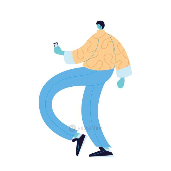 Man cartoon with smartphone vector design