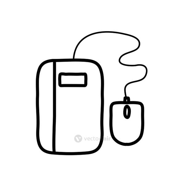 tablet and mouse device icon, line style