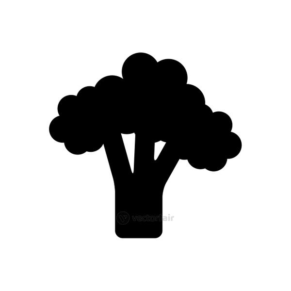 broccoli vegetable icon, silhouette style