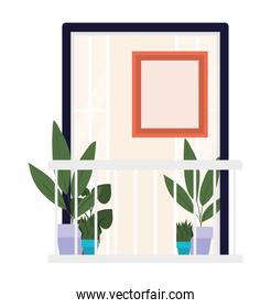 window balcony with interior view of plants and frame vector design