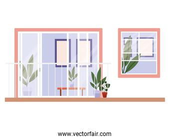 window and balcony with interior view of plants and frames vector design