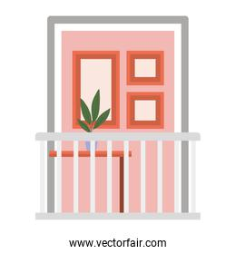 window balcony with interior view of plant and frames vector design