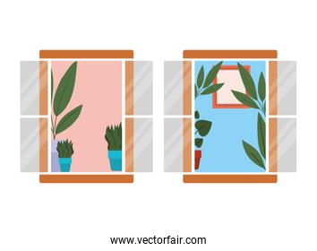 windows with interior view of plants and frame vector design