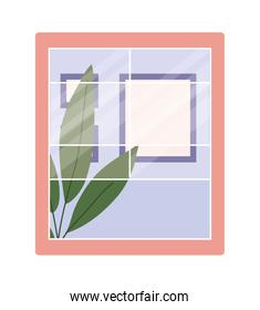 window with interior view of plant and frames vector design