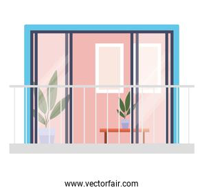 window balcony with interior view of plants and frames vector design