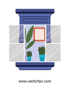 window with interior view of plants and frame vector design