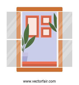 window with interior view of plants and frames vector design