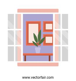 window with interior view of plant over table and frames vector design