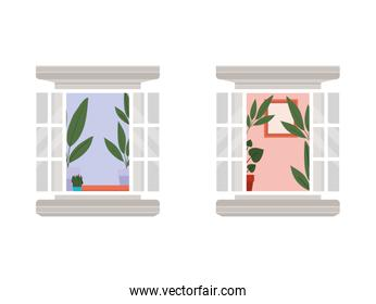 windows with interior view of plants and frame vector illustration