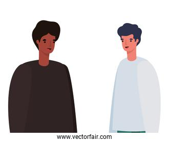 two men avatars vector design