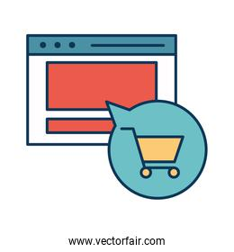 Website and shopping cart inside bubble line and fill style icon vector design