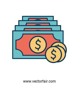 Coins and bills line and fill style icon vector design