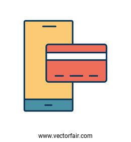 Smartphone with credit card line and fill style icon vector design