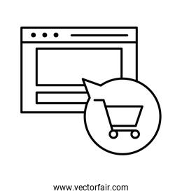 Website and shopping cart inside bubble line style icon vector design